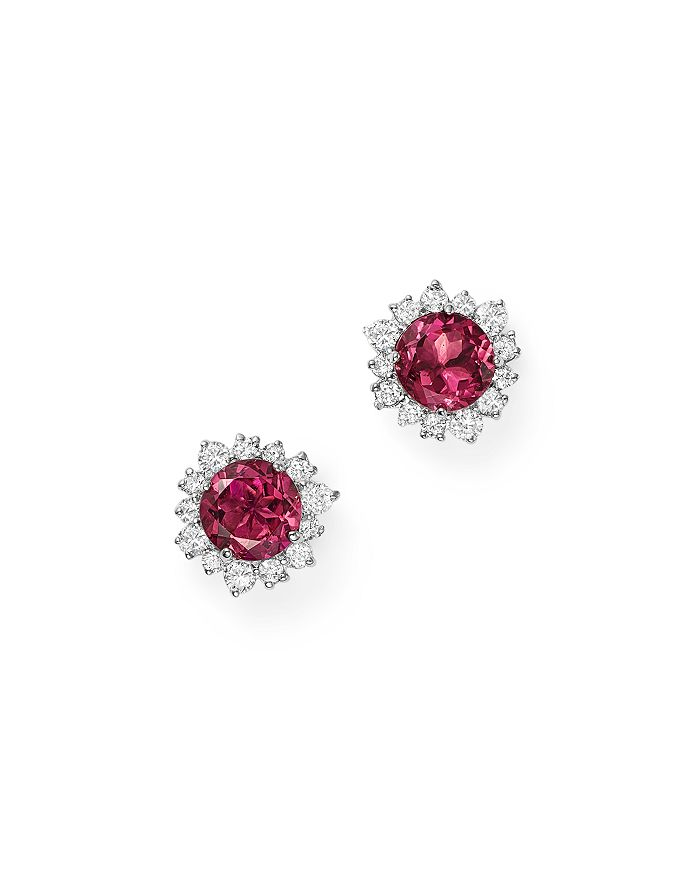Bloomingdale's - Pink Tourmaline and Diamond Halo Stud Earrings in 14K White Gold - 100% Exclusive