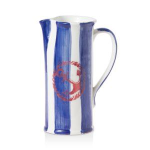 Vietri Costiera Blue Striped Medium Pitcher