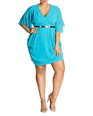 City Chic Flutter-Sleeve Dress