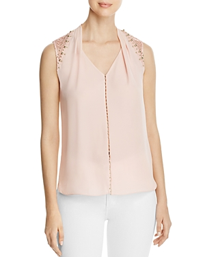 Elie Tahari Barbara Lace Shoulder Sleeveless Blouse