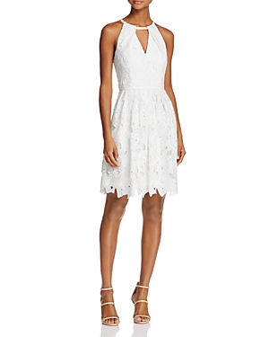 Adrianna Papell Lace Cutout Halter Dress