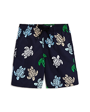 Vilebrequin Boys' Jim Multicolored Turtle-Print Swim Trunks