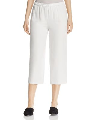 Eileen Fisher SYSTEM STRAIGHT CROP SILK PANTS