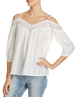 Paige Polly Crochet Trim Cold Shoulder Top