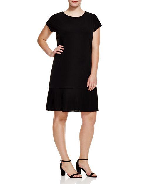 MICHAEL Michael Kors Plus - Short Sleeve Pleat Hem Dress