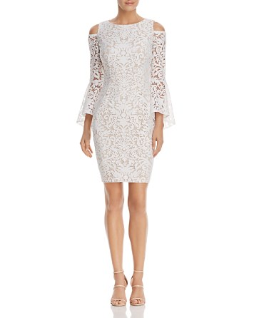 $AQUA Cold-Shoulder Bell-Sleeve Lace Dress - 100% Exclusive - Bloomingdale's