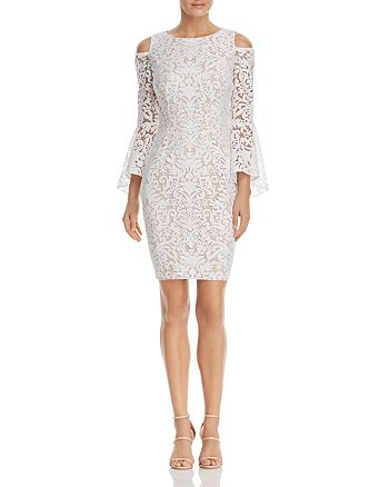 AQUA - Cold-Shoulder Bell-Sleeve Lace Dress - 100% Exclusive