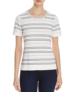 Calvin Klein Shimmer Stripe Short Sleeve Sweater