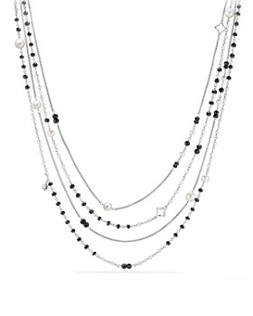 David Yurman - Oceanica Two-Row Chain Necklace with Cultured Freshwater Pearls and Black Spinel