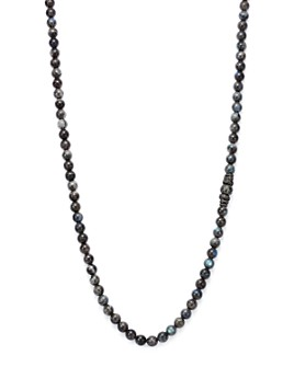 """Armenta - Old World Midnight Labradorite Bead Necklace with Carved Tahitian Pearl and Black Sapphire, 39"""""""