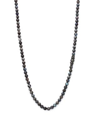 Armenta Old World Midnight Labradorite Bead Necklace with Carved Tahitian Pearl and Black Sapphire,