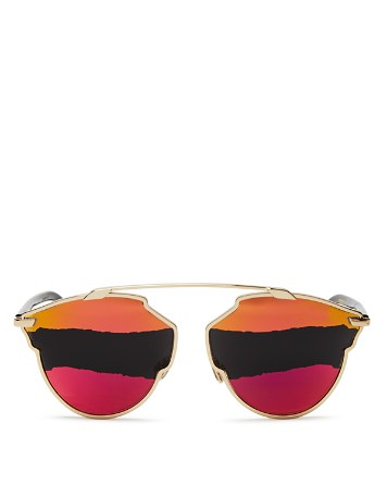 $Dior So Real Mirrored Round Color-Block Sunglasses, 48mm - Bloomingdale's