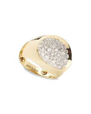 Antonini 18K Yellow Gold Matera Small Pave Silvermist Diamond Ring