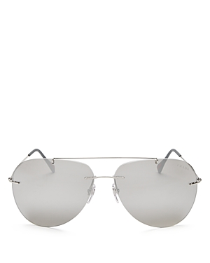 Prada Linea Rossa Mirrored Rimless Aviator Sunglasses, 63mm