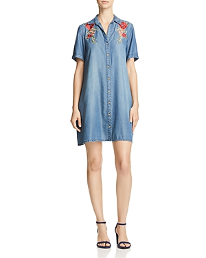 Aqua Embroidered Chambray Shirt Dress - 100% Exclusive