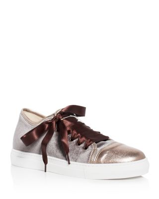 ASKA NELL VELVET CAP TOE LACE UP SNEAKERS