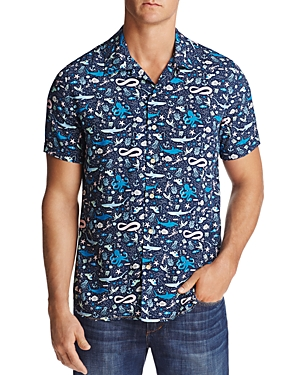 Surfside Supply Fish Print Regular Fit Button-Down Shirt