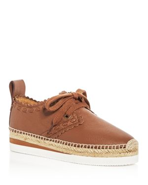 See by Chloe Women's Glyn Leather Lace Up Platform Espadrille Flats