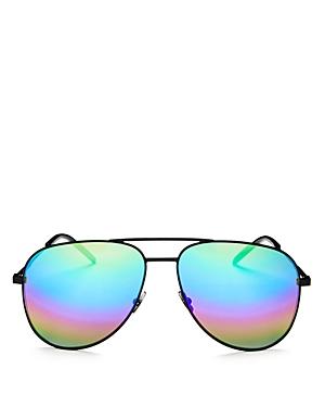 Saint Laurent Classic Brow Bar Mirrored Aviator Sunglasses, 59mm