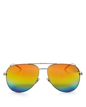 Saint Laurent - Women's Classic Brow Bar Mirrored Aviator Sunglasses, 59mm