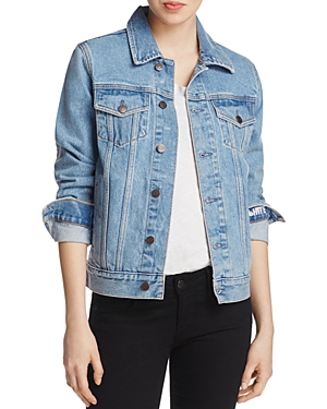 Logophile Patch Denim Jacket in Light Blue