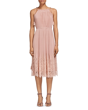 Whistles Lilian Pleated Lace-Trim Dress