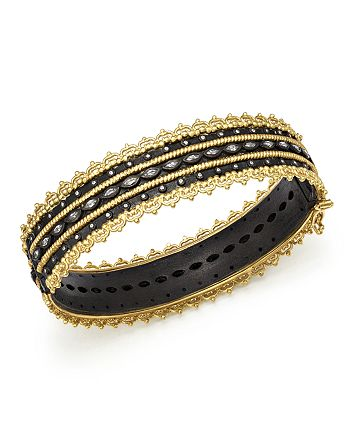 Armenta - 18K Yellow Gold and Blackened Sterling Silver Old World Diamond and White Sapphire Scalloped Edge Bangle