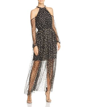 La Maison Talulah Glitter-Embellished Cold-Shoulder Dress