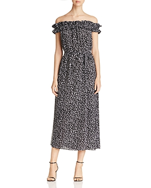 Michael Michael Kors Leaf Print Off-The-Shoulder Dress