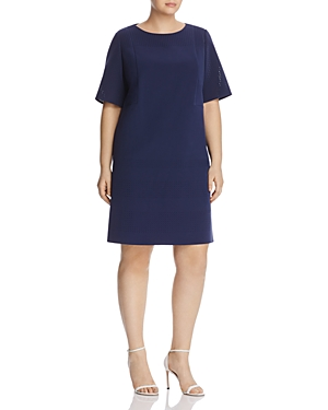 Lafayette 148 New York Plus Audney Laser-Cut Shift Dress