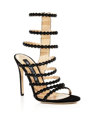 Sergio Rossi Kim Embellished Strappy High Heel Sandals