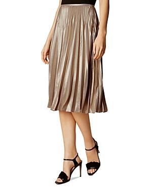 Karen Millen Atelier Metallic Pleated Skirt