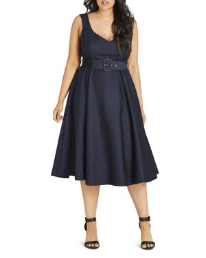 City Chic Belted Fit-and-Flare Dress