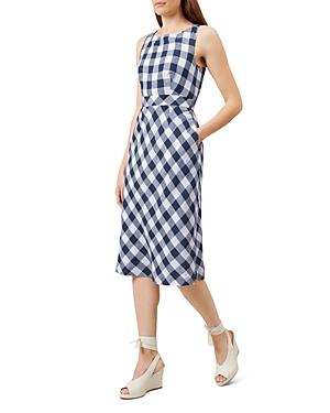 Hobbs London Myra Gingham-Print Linen Dress