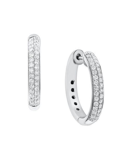 Bloomingdale S Diamond Double Row Hoop Earrings In 14k White Gold 50 Ct