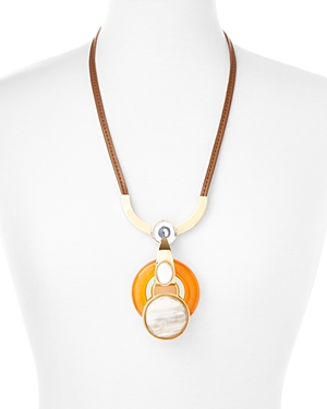 Marni Resin, Horn & Leather Pendant Necklace, 36