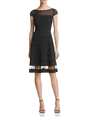 Adrianna Papell Chiffon-Band Fit-and-Flare Dress