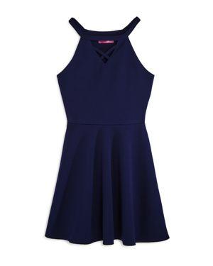 Aqua Girls' Crisscross Cutout Neck Skater Dress, Big Kid - 100% Exclusive