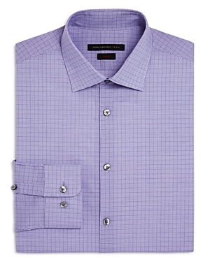 John Varvatos Star Usa Check Overcheck Slim Fit Stretch Dress Shirt
