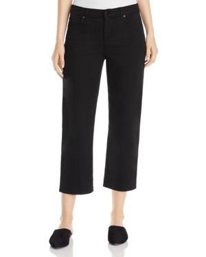 Eileen Fisher Cropped Wide-Leg Jeans in Black