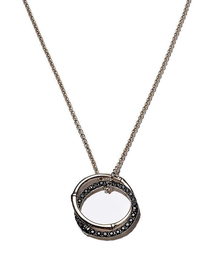"""JOHN HARDY - Sterling Silver Bamboo Lava Medium Interlink Pendant Necklace with Black Sapphires, 16"""""""