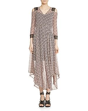 Maje Riano Cold-Shoulder Midi Dress