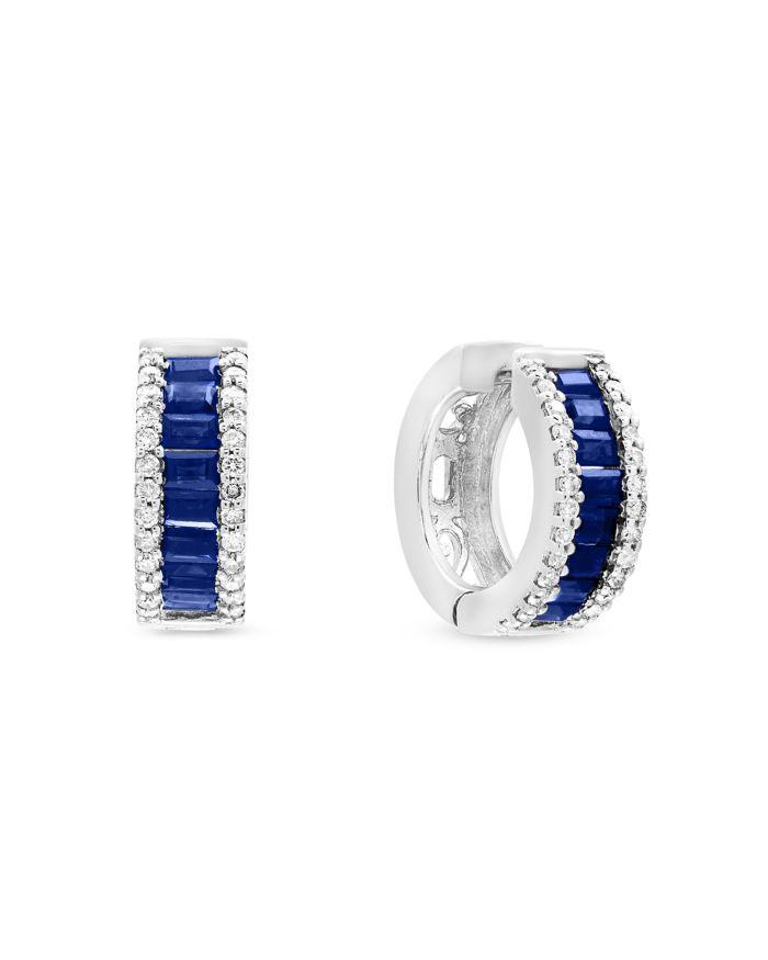 Bloomingdale's Blue Sapphire and Diamond Hoop Earrings in 14K White Gold - 100% Exclusive   | Bloomingdale's