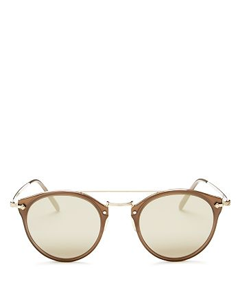 Oliver Peoples - Men's Remick Mirrored Brow Bar Round Sunglasses, 49mm