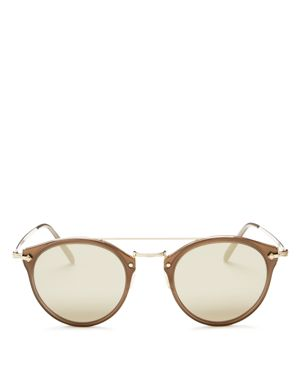 Oliver Peoples Remick Mirrored Brow Bar Round Sunglasses, 49mm