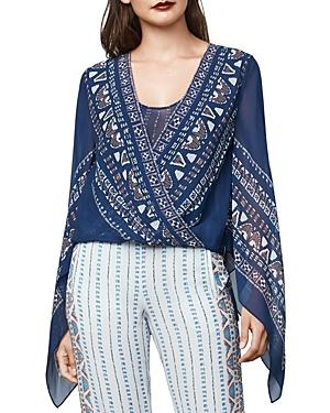 Bcbgmaxazria Kasia Handkerchief-Sleeve Silk Chiffon Wrap Top