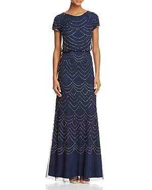 Adrianna Papell Short Sleeve Beaded Blouson Gown
