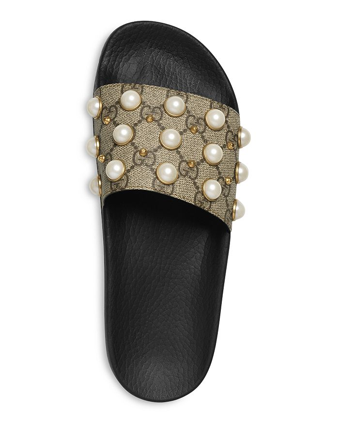 f7ce80e47c4 Gucci - Women s Pursuit Pearl Stud Pool Slide Sandals