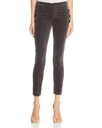 $J Brand Zion Velvet Crop Skinny Jeans in Asphalt – 100% Exclusive - Bloomingdale's