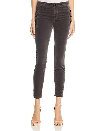J Brand - Zion Velvet Crop Skinny Jeans in Asphalt – 100% Exclusive